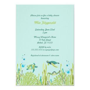 Sea turtle invitations zazzle realistic sea turtle baby shower or birthday party invitation filmwisefo