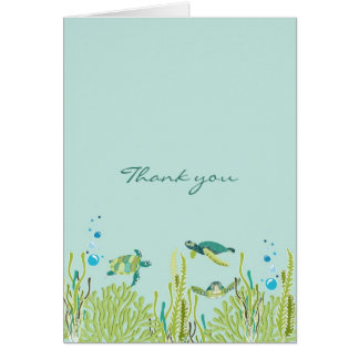 Realistic Sea Turtle Baby Shower thank you note Greeting Card