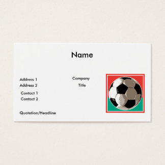 realistic soccer ball red and green background business card