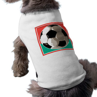 realistic soccer ball red and green background doggie tee