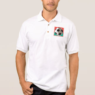 realistic soccer ball red and green background polos
