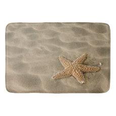 Realistic Soft Beach Sand with Starfish Bathroom Mat