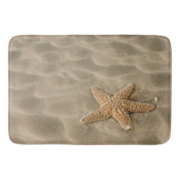 Realistic Soft Beach Sand with Starfish Bathroom Mat