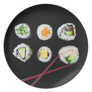realistic sushi rolls and chopsticks melamine plate