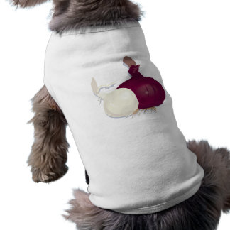 realistic white and purple onion design dog t shirt