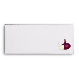 realistic white and purple onion design envelope