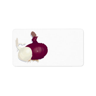 realistic white and purple onion design custom address labels