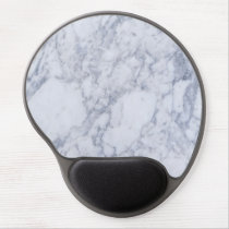 Realistic White Faux Marble Stone Pattern Gel Mouse Pad