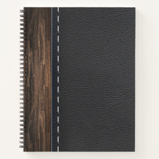 Realistic Wood and Stitched Leather Texture Notebook