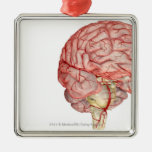 Realitic rendering of the human brain square metal christmas ornament