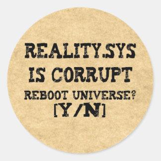 Reality.Sys Classic Round Sticker