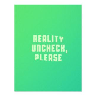 Reality uncheck, please letterhead