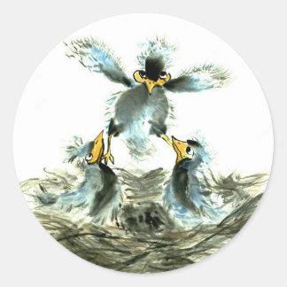 Realización de la elevación, pájaros de Sumi-e Pegatina Redonda