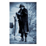 Really Big Fish Vintage Flapper Fishing Trout Print