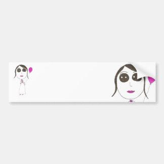 Really Big Head Girl Bumper Sticker