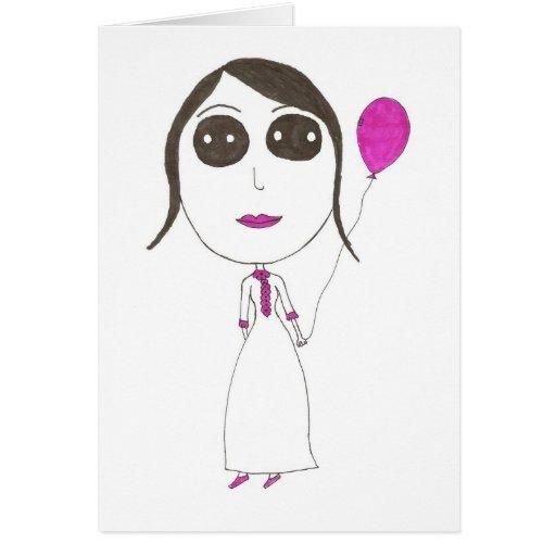 Really Big Head Girl Greeting Card