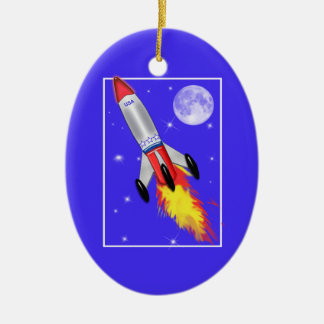 Really Cool Rocket in Space Ceramic Ornament
