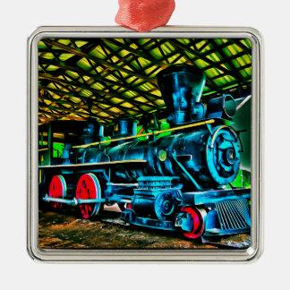 Really Cool Train Art Square Metal Christmas Ornament