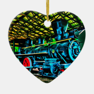 Really Cool Train Art Double-Sided Heart Ceramic Christmas Ornament
