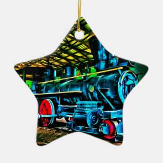 Really Cool Train Art Double-Sided Star Ceramic Christmas Ornament