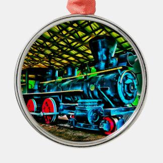 Really Cool Train Art Round Metal Christmas Ornament