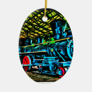 Really Cool Train Art Double-Sided Oval Ceramic Christmas Ornament
