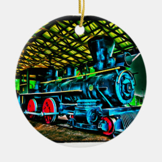 Really Cool Train Art Double-Sided Ceramic Round Christmas Ornament
