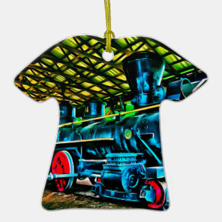 Really Cool Train Art Double-Sided T-Shirt Ceramic Christmas Ornament