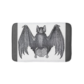 Really Creepy Vintage Retro Bat Spooky Wings Bath Mat