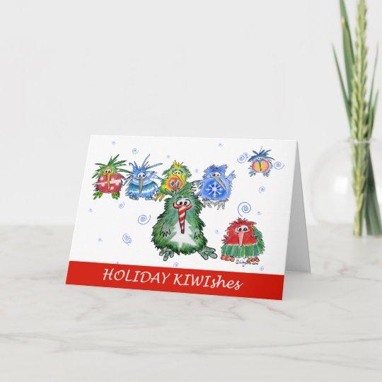 really cute kiwi cartoon holiday card  zazzle