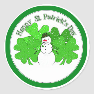 Really Lucky Snowman with Lots of Clovers! Classic Round Sticker