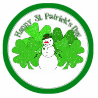 Really Lucky Snowman with Lots of Clovers! Cut Out