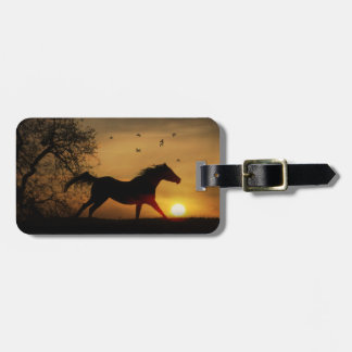 Really Pretty Running Horse in the Sunset Luggage Bag Tag