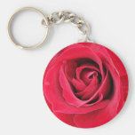 really red rose keyring basic round button keychain
