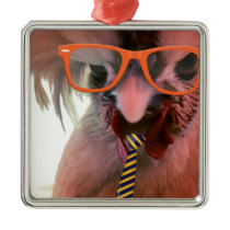 Really smart Rooster Metal Ornament