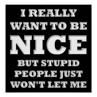 Really Want to Be Nice Funny Poster blk