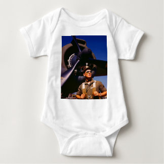 Really wonderful to come home Pilot and war plane Baby Bodysuit