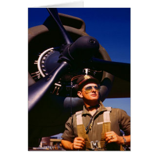 Really wonderful to come home Pilot and war plane Card