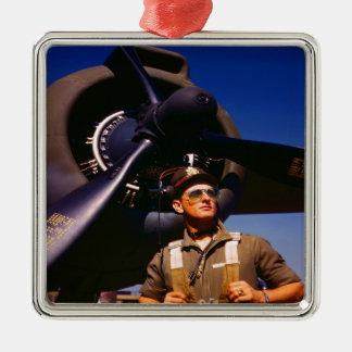 Really wonderful to come home Pilot and war plane Metal Ornament