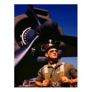 Really wonderful to come home Pilot and war plane Postcard