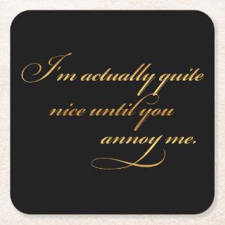 Realmente Niza molésteme hoja del oro de la cita Posavasos Desechable Cuadrado
