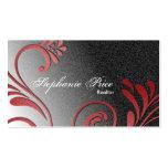 Realtor Business Card - Red & Black Sparkle Floral