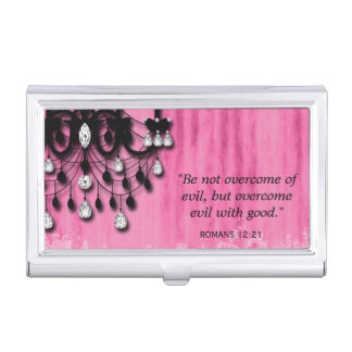 Realtor Chandelier CHRISTIAN Romans 12:21 Quote Business Card Case