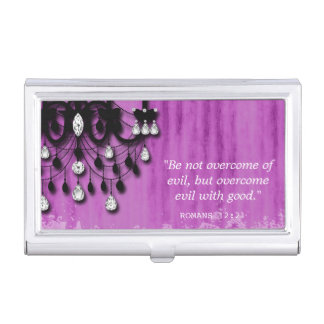 Realtor Chandelier CHRISTIAN Romans 12:21 Quote Business Card Cases