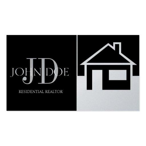 Realtor House/Paper Black Platinum Business Card