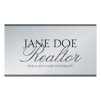 Realtor Real Estate Broker Sales Silver Script Plt Business Card