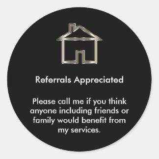Realtor Referral Appreciation Classic Round Sticker