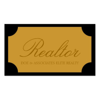 Realtor Script Yellow Gold Plaque Business Cards