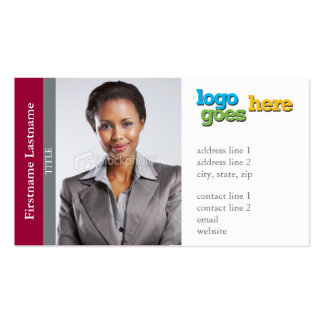 Realtor Sidebar (Horizontal) -Customize logo photo Double-Sided Standard Business Cards (Pack Of 100)