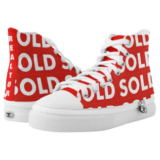 Realtors Red and White Sold Sign High Tops Shoes Printed Shoes